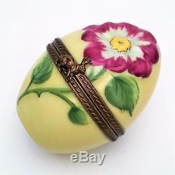 Limoges, France Porcelain Trinket Box, Wild Rose Egg Limited Edition, 300 of 300