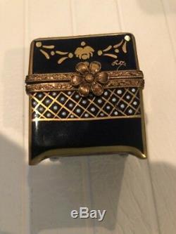 Limoges France Porcelain Trinket Box with 4 Perfume Bottles