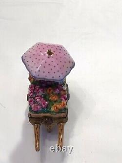 Limoges France Rochard Hand Painted Flower Cart Trinket Box
