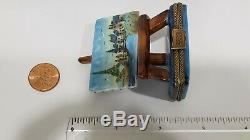 Limoges France Rochard Trinket Box Artist Easel, Parisian Scene, Signed DZ