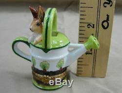 Limoges France Rochard Watering Can Bunny Rabbit Peint Main Hinged Trinket Box