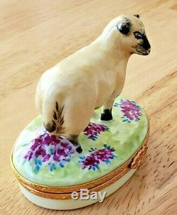 Limoges France SHEEP/EWE Floral Trinket Box Peint Main Signed CG #202