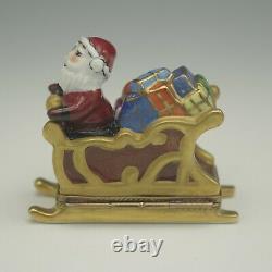 Limoges France Santa In Sleigh Old World Pill Box Trinket Box Gerard Ribierre