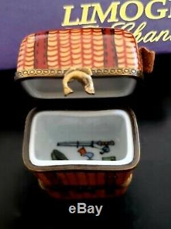 Limoges France Signed 2 Tier Fishing Tackle Box Rare Find Excellent Condition