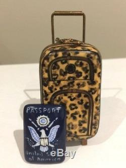 Limoges France Trinket Box Animal Print Rolling Suitcase with US Passport