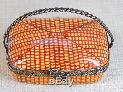 Limoges France Trinket Box, Chanille No. 132 Very detailed Picnic Basket