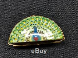 Limoges France Trinket Box Peacock with 24K Gold Fan Shaped Peint Main Rare