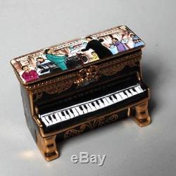 Limoges France Upright Piano With Orchestra Handpainted Trinket Box