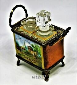 Limoges France Vialard Footed Perfume Basket Landscape Scene As Is
