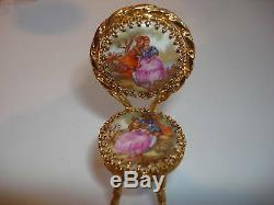 Limoges France porcelain table chair gold trim unique mini furniture set