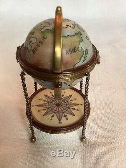 Limoges Hand Painted 4 Porcelain Globe Bar Box Marque Deposee SEE DETAILS