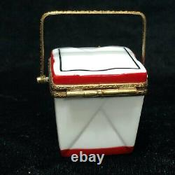 Limoges Hand Painted Rochard Take Carry Out Food Box with Fortune Cookie