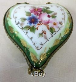 Limoges Heart Box Hand Painted France Bnib Porcelain Hinged F/s