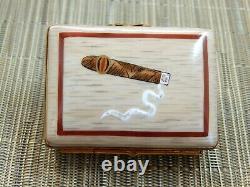 Limoges Hinged Trinket Hinged Lid Box Artist signed Cigar Box Luxury Cigars