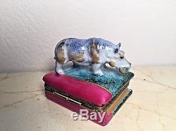 Limoges Hippopotamus on Book Peint Main RARE Vintage Hippo Trinket Box