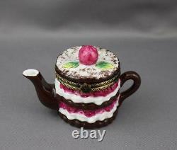 Limoges Imports Berry Layer Cake Teapot Trinket Box Hinged Peint Main France