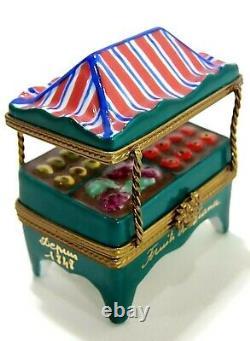Limoges Imports Fruit Vegetable Stand Trinket Box Peint Main France
