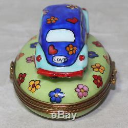 Limoges Imports Peint Main Floral Volkswagen Beetle Hippie Porcelain Trinket Box
