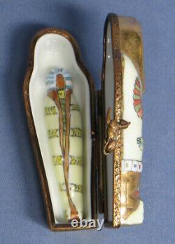 Limoges King Tut Egyptian Mummy in Sarcophagus Trinket Box EXC
