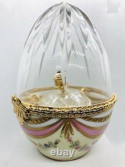 Limoges LaGloriette Peint Main Trinket Box Huge Egg&Perfume Bottle Limited&Mint