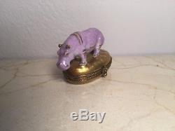 Limoges Lavendar Hippopotamus CHAMART Peint main France RARE Vintage Box