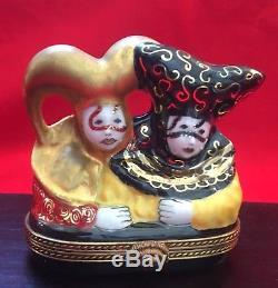 Limoges Limited Edition Carnival Jesters Porcelain signed trinket box + gold sun