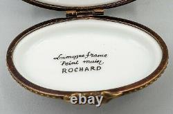Limoges Limoges Mother & Baby Goose Trinket Box, Rochard, Peint Main, 2 1/2