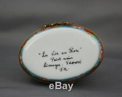 Limoges Lying Cat Trinket Box Porcelain Hinged Peint Main Gray Purple Figural