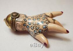 Limoges PORCELAIN Lace Glove Hand Trinket Box PIENT MAIN PV Vielle Gypsy Lady