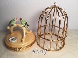 Limoges Parrots in Bird Cage ARTORIA #1005 Peint main RARE Vintage Box