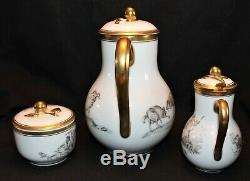 Limoges Pastoral Coffee Set On Tray