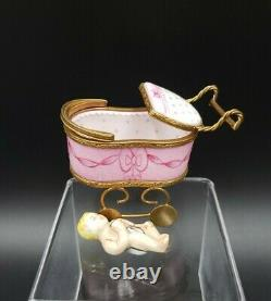 Limoges Peint Main Baby & Carriage Trinket Box with Insert MINT CUTE