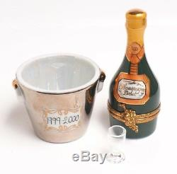 Limoges Peint Main Champagne Bucket And Bottle Trinket Box
