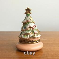 Limoges Peint Main Christmas Tree Trinket Box with Gold Chain Puy de Dome Numbered
