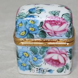 Limoges Peint Main Floral Perfume Case Trunk with Two Bottles Trinket Box