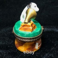 Limoges Peint Main France Marque Déposée RCA Nipper Trinket Box