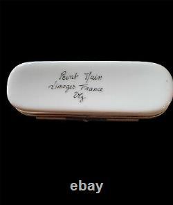Limoges Peint Main France Porcelain Trinket Box w 4 Colored Dice Signed