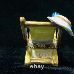 Limoges Peint Main France Rochard Beach Chair with Hat & Glasses Trinket Box