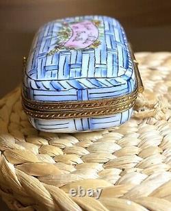 Limoges Peint Main La Gloriette Picnic Basket! Trinket Box
