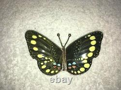 Limoges Peint Main Rochard Butterfly Hinged Trinket Box, Double-Sided, France