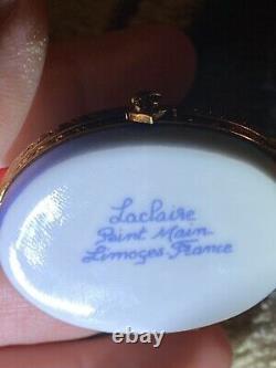 Limoges Peint Main Sailboat Hinged Trinket Box
