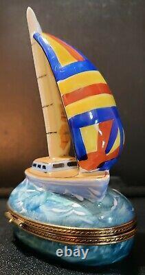 Limoges Peint Main Sailboat Trinket Box