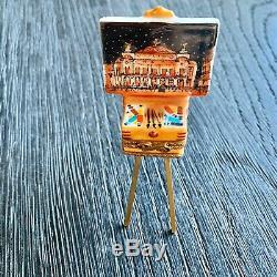 Limoges Peint Main Trinket Box, PARIS OPERA Artist Easel w Paint
