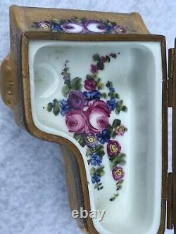 Limoges Peint Main Trinket Box Piano Gild Etching Floral Paint Mint