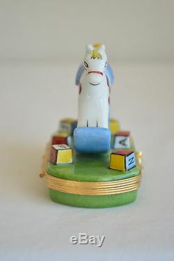 Limoges Peint Main Trinket Box Rocking Horse ABC Blocks Horse Clasp Block Inside