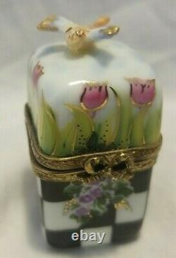 Limoges Peint Main Trinket Box with Dragonfly numbered 44 of 100 Bow Clasp