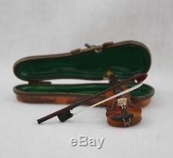 Limoges Peint Main Wood Violin in Porcelain Trinket Box With Bow Metal Strings
