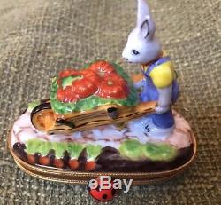 Limoges Peint Mein Rabbit Gardener, ladybug clasp, snail inside trinket ltd. Ed