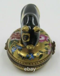 Limoges Pig Black and Gold Hand Painted CM Peint Main France Trinket Box