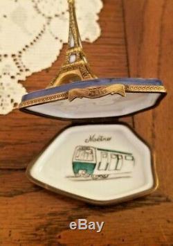 Limoges Porcelain Eiffel Tower Paris France Metro Map Trinket Box, Ltd Ed #7/500